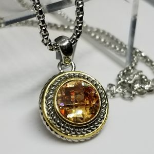 Imperial Topaz Crystal Necklace Two Tone Cable